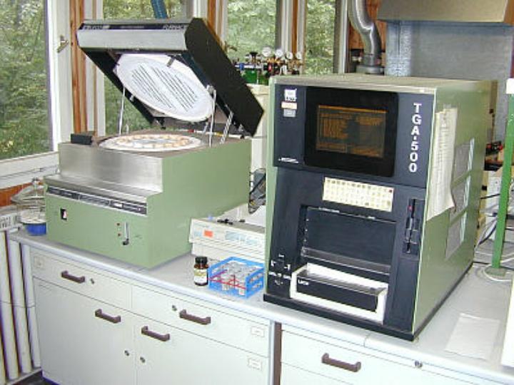 Proximate Analyser: Leco TGA-500;  Furnace open. (c)